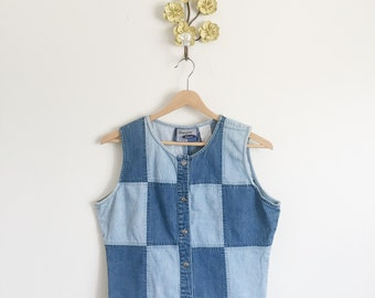 30% OFF Vtg 90s Denim Patchwork Tank Top Vest • Faded Stone Wash Checkerboard Sleeveless Button Up Shirt  - M