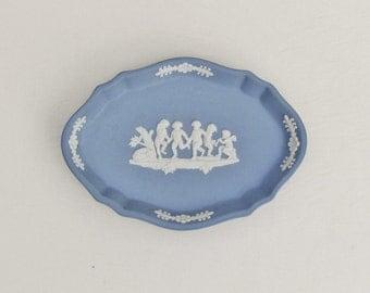 Vintage Wedgwood pin tray, blue jasper ware trinket dish, small vanity tray with dancing cherubs and dog, blue jasperware pin dish
