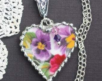 Necklace, Broken China Jewelry, Broken China Necklace, Heart Pendant, Viola China, Sterling Silver