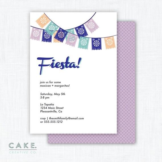 """Cinco De Mayo Party Invitation Printable """"Fiesta"""""""