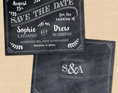 """Chalkboard Art Save the Date with Monogram; Typography Wedding (5.5""""x4.25""""): Text-Editable in Microsoft® Word, Printable Instant Download"""