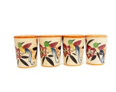 Vintage Sake Cups Set of 4 Hand Painted Made in Japan Kyoto Teacup Bird Design