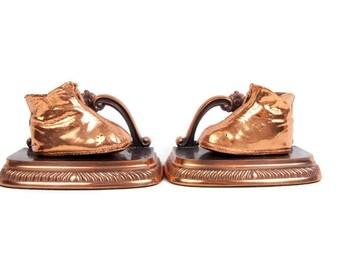 Vintage Copper Baby Shoe Bookends Bronze Baby Booties Sculpture Baby Nursery Decor Mid Century