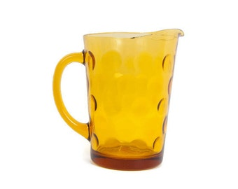 Vintage Amber Glass Pitcher Polka Dot Pattern Coin Yellow Glassware Retro Mid Century Mad Men Serving Pitcher Water Milk
