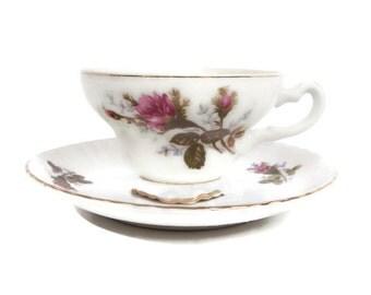 Vintage Nippon Yoko Boeki Co Japan Teacup Saucer Hand Painted Pink Roses Rosebuds Footed Tea Cup