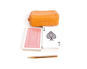 Vintage Playing Cards in Leather Case Glove Tanned Cowhide 2 Decks Poker Cards Unopened Deck Retractable Pencil