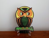 Beistle Halloween Owl and Moon Cardboard Die Cut Embossed Decoration Made in USA