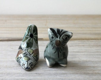 Pocket totem best friends vintage animal figurines / Tonala style Mexican folk art pottery mini figurines / rustic collectible mini pottery