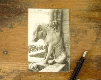 Circa 1909 Vintage French Postcard Wild Boar / Pig Gargoyle Sculpture at Notre Dame Cathedral Paris, France Chimère Post Card #251