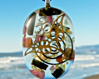 RUBY and BLACK TOURMALINE Positive Energy Orgone Pendant with Silver Om Totem, Bronze Leaves, Hematite Spiral and Wyoming Jade. WiFi Shield.