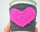 Pink Heart Coffee Cozy