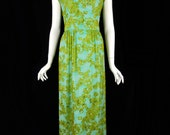 60s Malcolm Starr Aqua Beaded Gown - sm, med