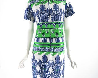 70s Belted Shift Dress in Blue, Green and White Bold Ethnic Print - lg, xl, plus