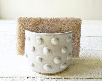Sponge Holder, Ceramic Sponge Holder, Sponge Caddy, Hand thrown Pottery, Soft White Glaze.