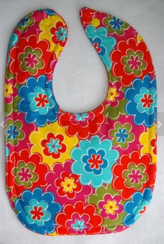 Baby Girl Bib - Flower Bib - Feeding Bib - Drool Bib - Dribble bib - Bright Bibs - Handmade Bibs, Toddler Bibs, Large Bib, New Baby Gifts