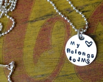 Necklace Custom Initials Name Tag Girlfriend. Boyfriend Silver Sports Number.  Football Baseball Hockey Basketball.  My heart belongs to