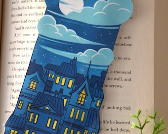 City Scape bookmark, Illustrated bookmark,  unique bookmarks