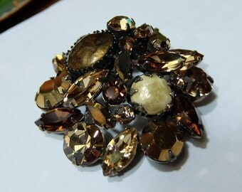 Vintage Regency Brooch Brown Rhinestones Art Stones Gunmetal 1950's