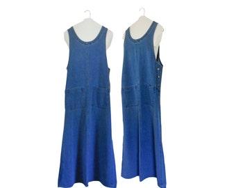 90s Denim Dress Denim Maxi Dress Long Denim Dress Chambray Dress Maxi Dress Women Long Maxi Dress Women Overall Dress Women Jumper 1990s