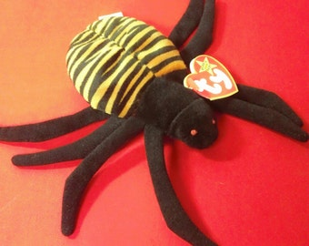 Spinner ~ Ty Beanie Babies Plush Striped Spider ~ Vintage 1990s Collectible Beanbag Stuffed Animal Arachnid Insect Toy