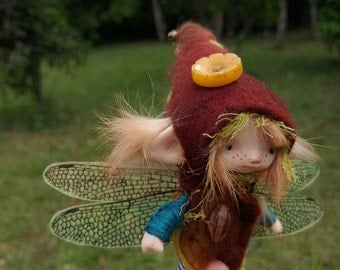 sweet   ooak posable   tiny  fairy fairie fae with removable dragonfly wings