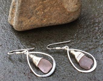 Sea glass jewelry,  Rare purple sea glass teardrop earrings