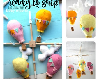 Balloon Baby Mobile - Girl Baby Mobile - Custom Mobile - Nursery Decor - Ready To Ship - Personalized Baby Mobile