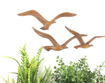 Vintage Faux Bois Seagull Wall Hanging Set, Syroco Wall Decor, Nautical Wall Art, Beach House Decor, Bohemian Wall Art, Retro Bird Plaques