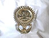 Vintage Big Sun and Moon Door Knocker Great Old Sol and Luna