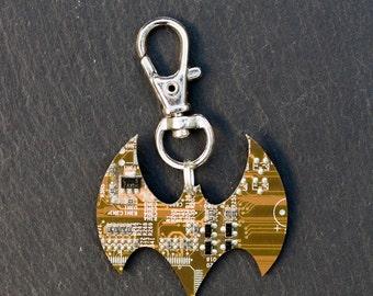 SAMPLE SALE Circuit board bat zipper charm - Men's, gift for batman fan, keychain, recycled, computer nerd gift, gift for geek