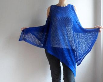 Women Blouse, Blue Top Tunic for women, Blue Blouses, Over Size Vest, Beach cover up, Women Dress, Lace