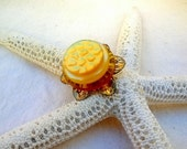 Sunshine Flower RIng ~ Vintage Buttons Re-Purposed ~ Size 6 ~ OOAK