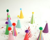 stripes and solids mini party hat cupcake toppers
