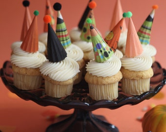 mini party hat cupcake toppers - halloween