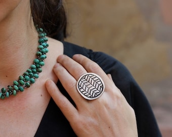 Bronze Woven Disc ring
