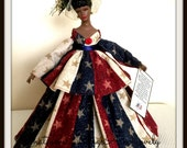 "African American Art Doll Black History Month USA Celebration Black Handmade OOAK Doll ""Let Freedom Ring"""