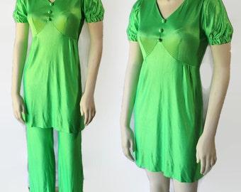 60s 70s Mod Micro Mini Dress Pants Neon Green Nancy B Rocker Chic