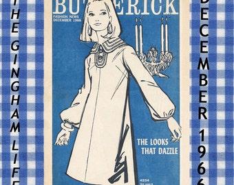 1960's Butterick Flyer December 1966  Looks That Dazzle Evening Wear Girls Dresses Digital Download