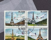 Postage Stamps - Paris, Eiffel Tower, Airplane, Concorde - BOAC, Air France - 4 stamp block NH issued by São Tomé e Príncipe