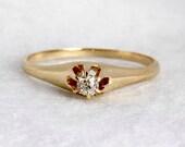 VALENTINES DAY SALE Antique Edwardian 14k Rose Gold Diamond Ring Old European Cut Engraved Engagement Ring Wedding Ring