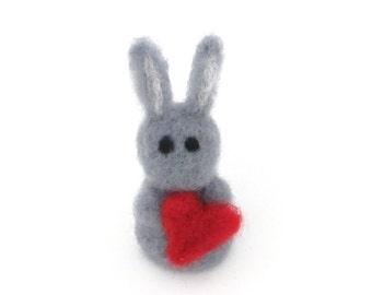 Cute felted bunny - Grey Easter bunny with heart - Pocket felt animal - Needle felted bunnies