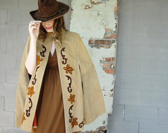 Vintage suede poncho, leather cape boho cloak tan brown floral, 1960s 1970s