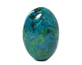 Blue Chrysocolla Green Malachite Jewel, Natural Polished High Gloss Semiprecious Gemstone Cabochon, Gem Silica from Peru, Earth Treasure DIY