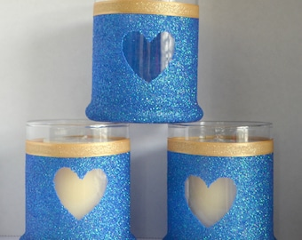 Glass, Candle Holder, Glitter, Heart, Bridal Shower, Baby Shower, House Decor, House Warming, Wedding Decor, Table Decor, Centerpieces