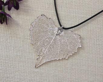 SALE Leaf Necklace, Silver Cottonwood Leaf, Real Cottonwood Leaf Necklace, Real Leaf Pendant, Silver Leaves, Holiday Gifts SALE171