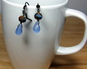 Czech Glass Bead, Blue Drop Earrings, Blue Glass Earrings, Glass Bead Earrings, Blue Quartz Earrings, Blue Dangle Earrings