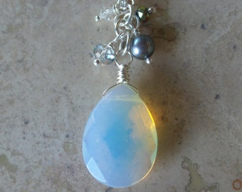 Opalite Cluster Bead Pendant