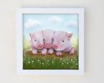 Framed Pig Print, Baby Girl Nursery, Kids Wall Art, Farm Animal Art