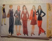 Simplicity Sewing Pattern 5140 70s Misses Blazer, Skirt, Vest and Pants Size 12