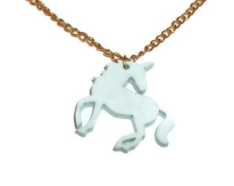 Mint Green Unicorn Necklace Pastel Jewelry  Kitsch Quirky Kawaii Cute Laser Cut